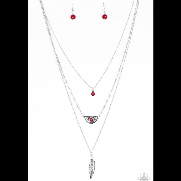 Paparazzi pink stone accents,mismatched silver frames necklace w//earring